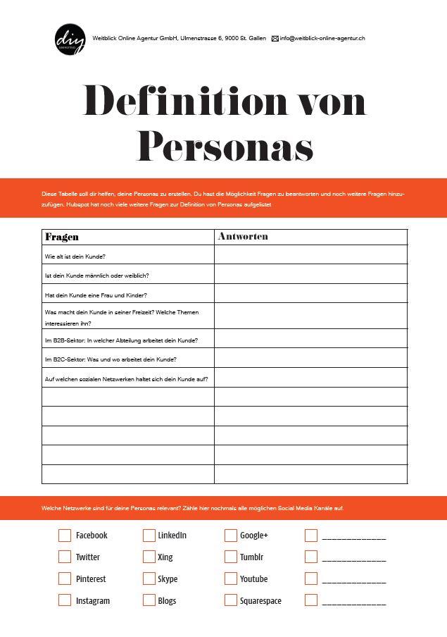 Worksheet Schritt 1 - Personas erstellen