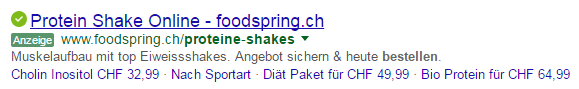 CTA AdWords Beispiel Foodspring