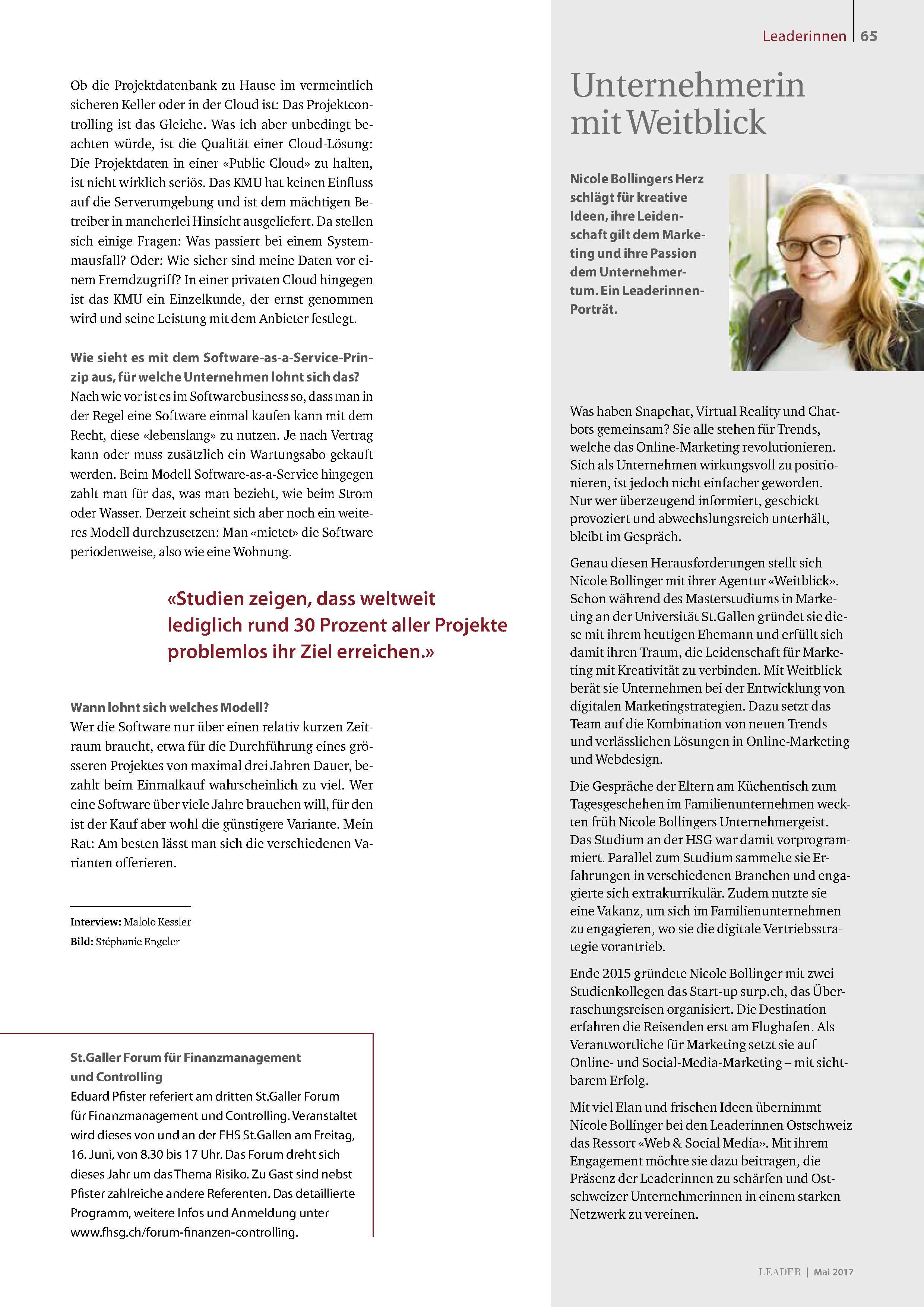 Artikel über Nicole bei den Leaderinnen