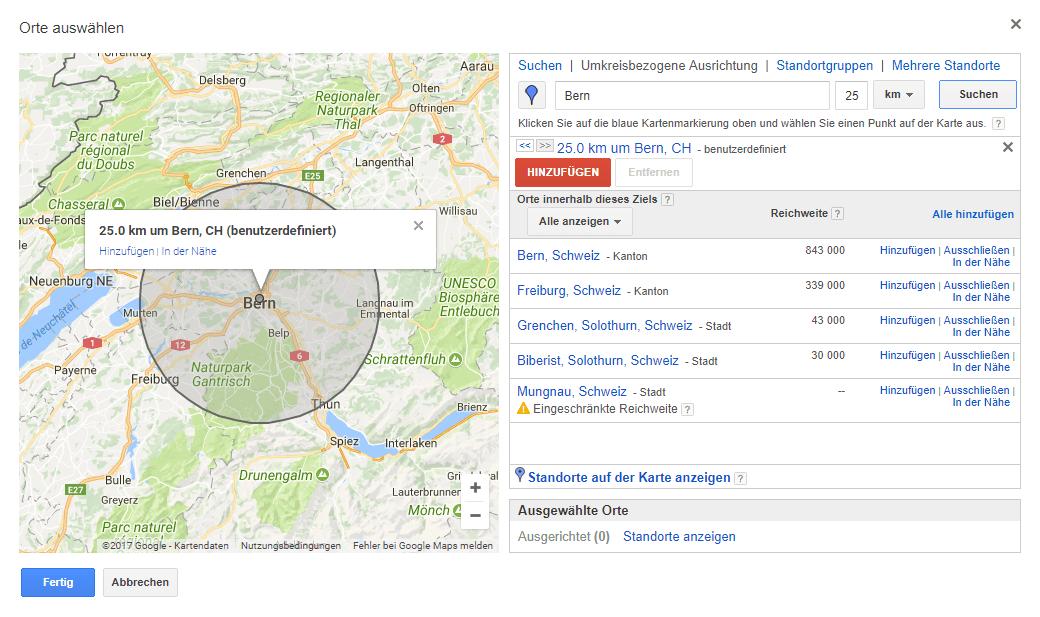 Ausschnitt aus Google Maps