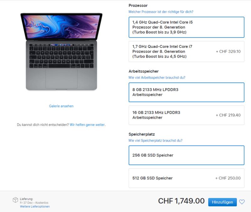 Upselling Beispiel MacBook