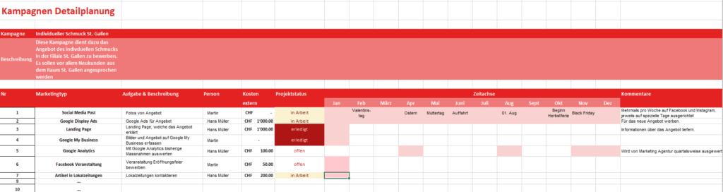 Marketingplan Detailplanung Schmuckladen Gold